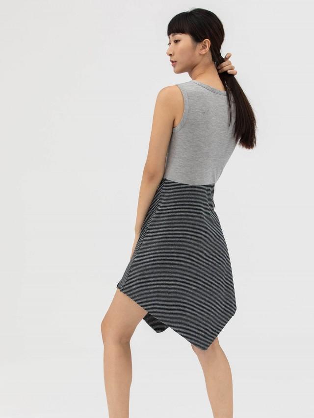 AUSTIN W. 裙襬條紋洋裝 - 灰