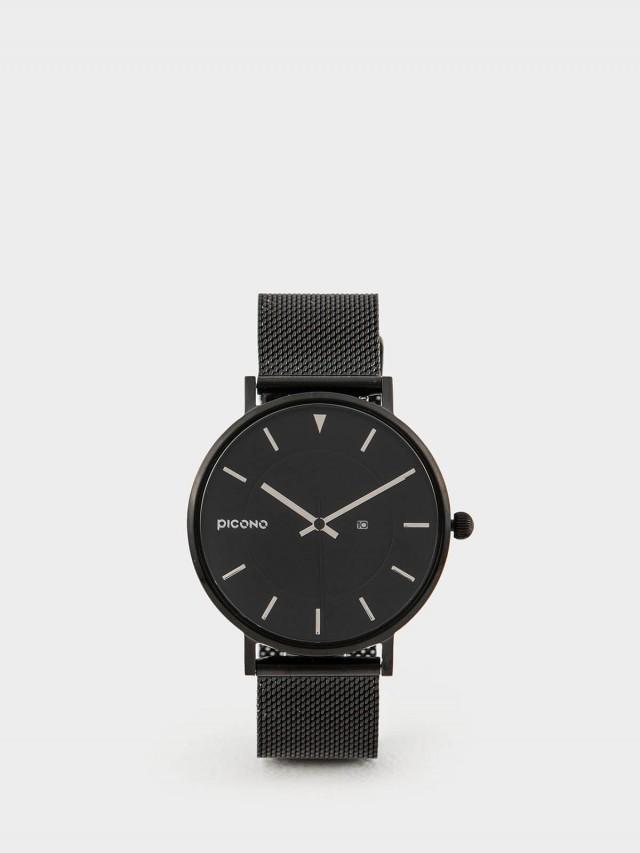 PICONO RGB 系列 輕薄黑色快拆式不鏽鋼網帶手錶 - 金屬銀