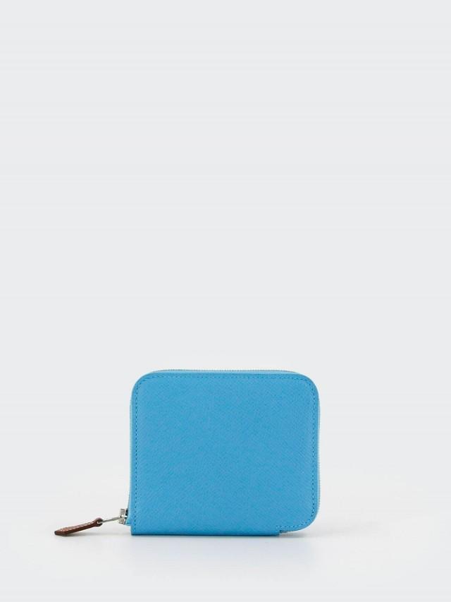 HERMÈS SILK IN EPSOM 小牛皮拉鍊絲巾短夾 x 水藍色