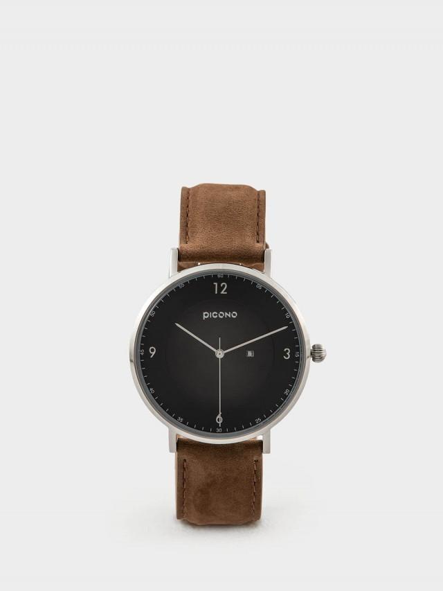 PICONO VINYL - 系列 輕薄真皮錶帶手錶 - 黑 / 銀