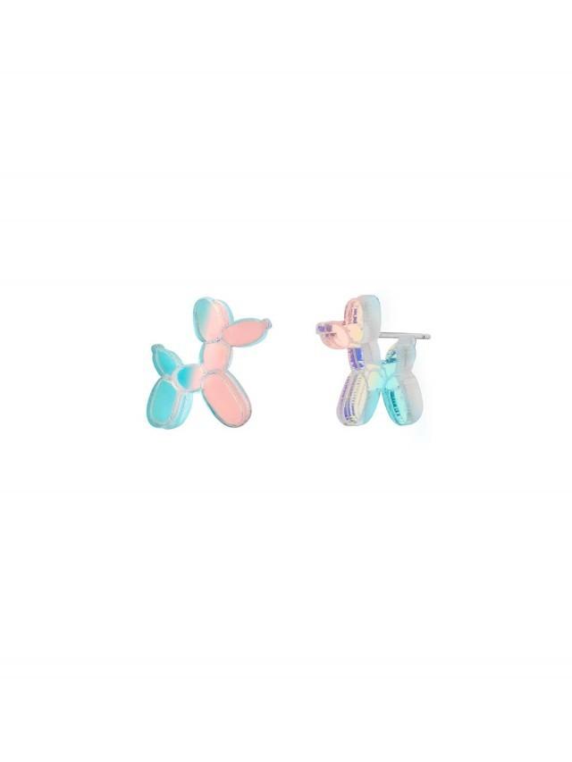 MONOLAMA 鏡面反光材質氣球狗耳環 - 幻彩