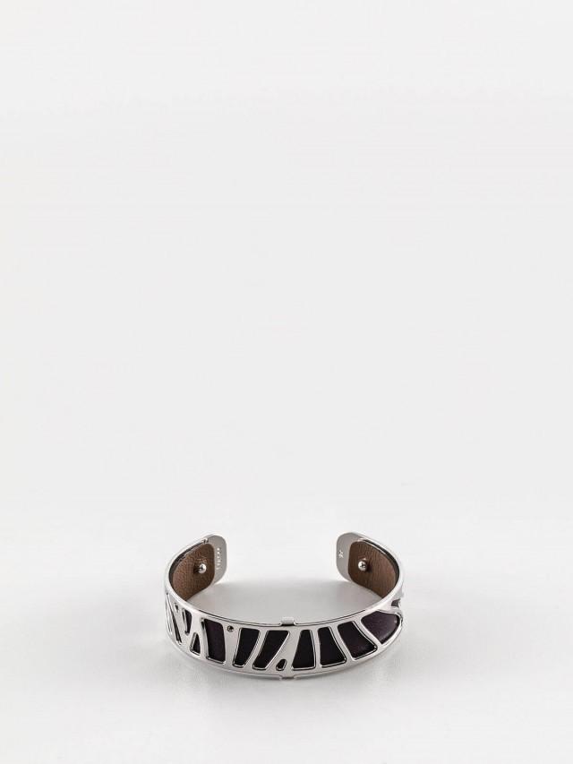 Les Georgettes 銀色細版鸚鵡紋手環 + 細版手環皮革深紫 / 淺棕