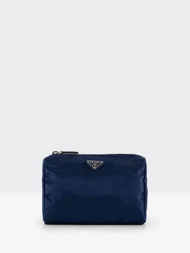 PRADA 經典三角牌尼龍中型化妝包 x 藍色