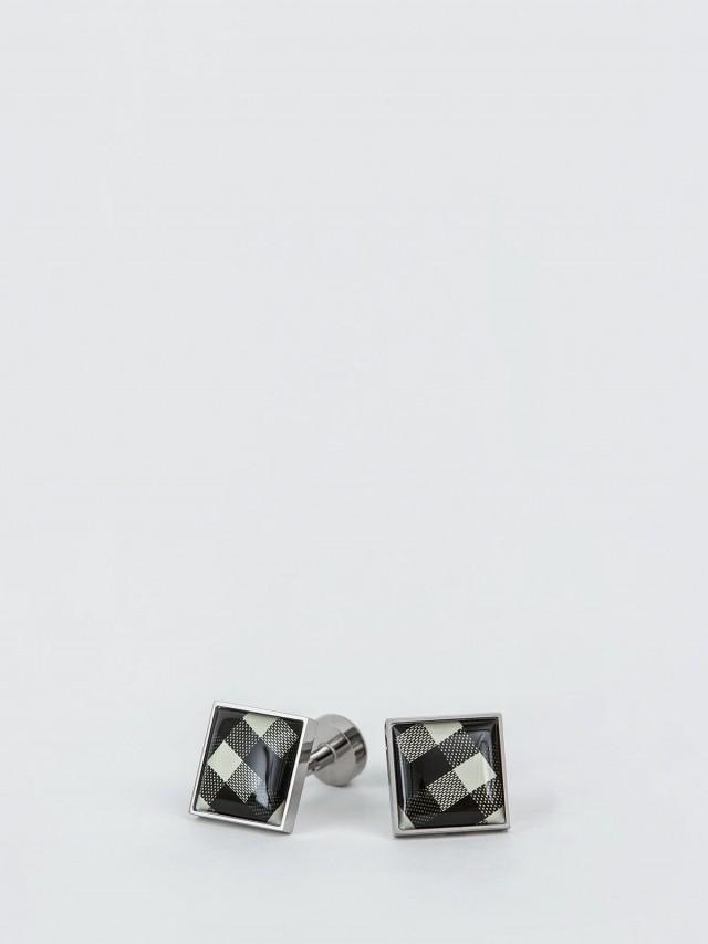 Würkin Stiffs 不鏽鋼袖釦 - CHECK BLACK 格紋黑 / 方形