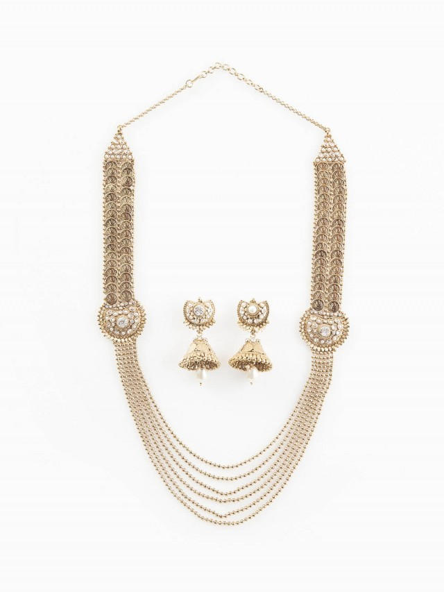 Carol Chugani 異國風垂掛黃銅串珠搭水鑽項鍊 + 耳環組