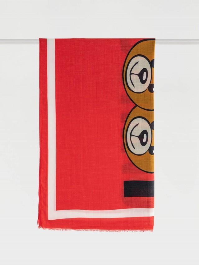 MOSCHINO 經典小熊玩偶圖案流蘇造型莫代爾混羊絨圍巾 - 紅