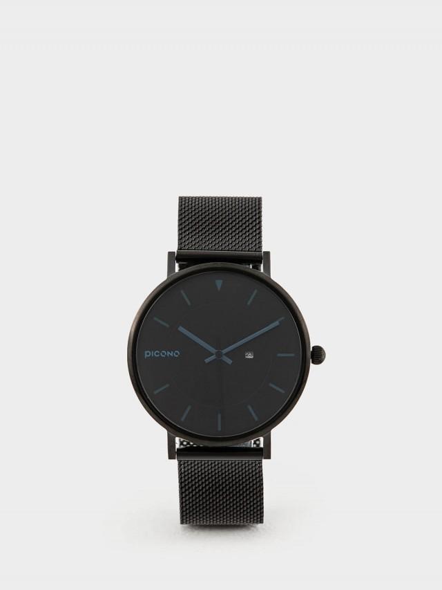 PICONO RGB 系列 -  輕薄黑色快拆式不鏽鋼網帶手錶 - 陽光藍