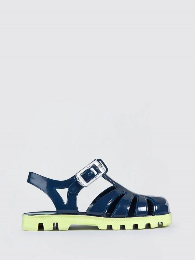 JuJu PROJECT Jelly 兒童繽紛果凍涼鞋 - 海軍藍 x 萊姆