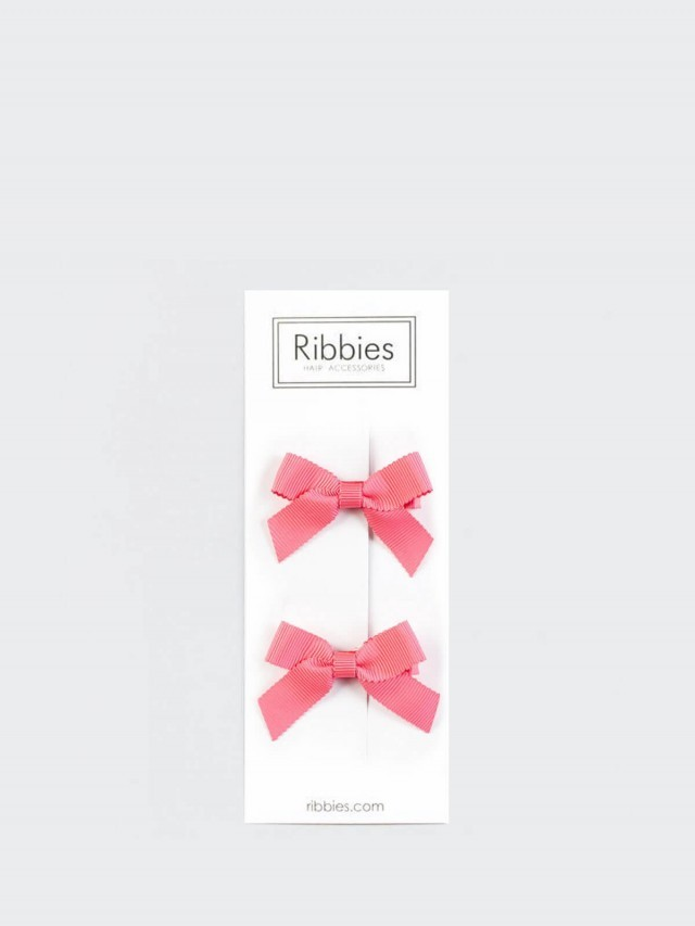 Ribbies 經典蝴蝶結 2 入組 - 珊瑚紅