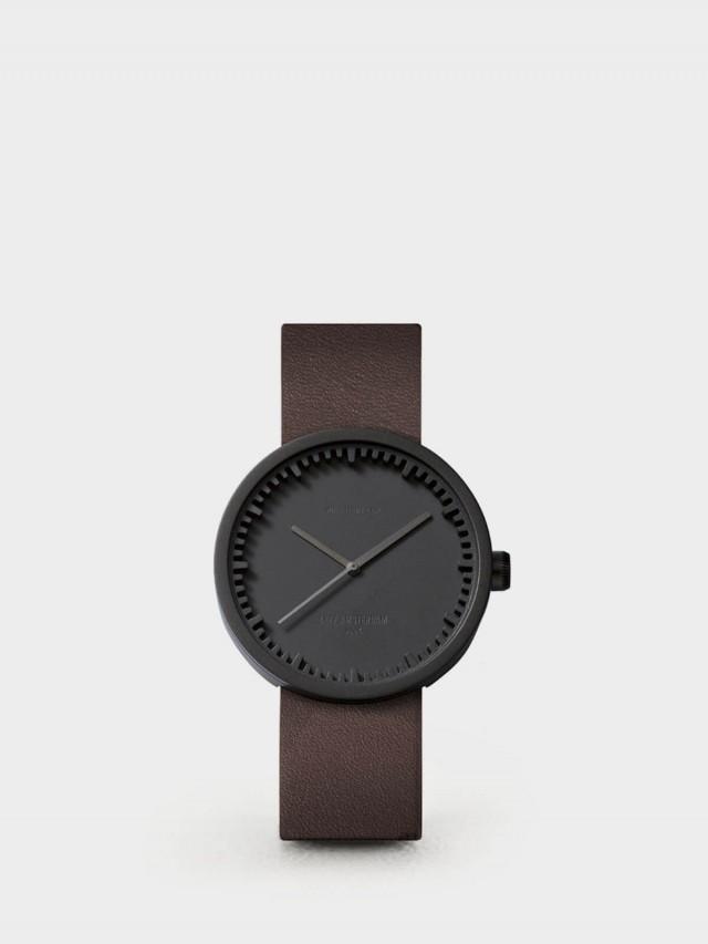 LEFF amsterdam tube 北歐工業齒輪設計真皮腕錶 - 38 mm 霧黑 / 棕皮帶