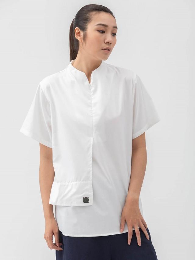 WEAVISM 【類車衣】半襟拉鍊立領上衣 - 白