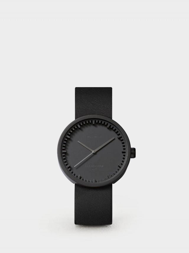 LEFF amsterdam tube 北歐工業齒輪設計真皮腕錶 - 38 mm 霧黑 / 黑皮帶