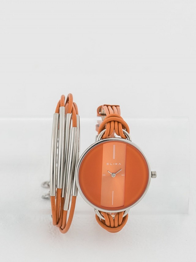 ELIXA 瑞士手錶 Finesse 精巧時間皮繩系列 x 手環組合 - 38 mm / 橘色