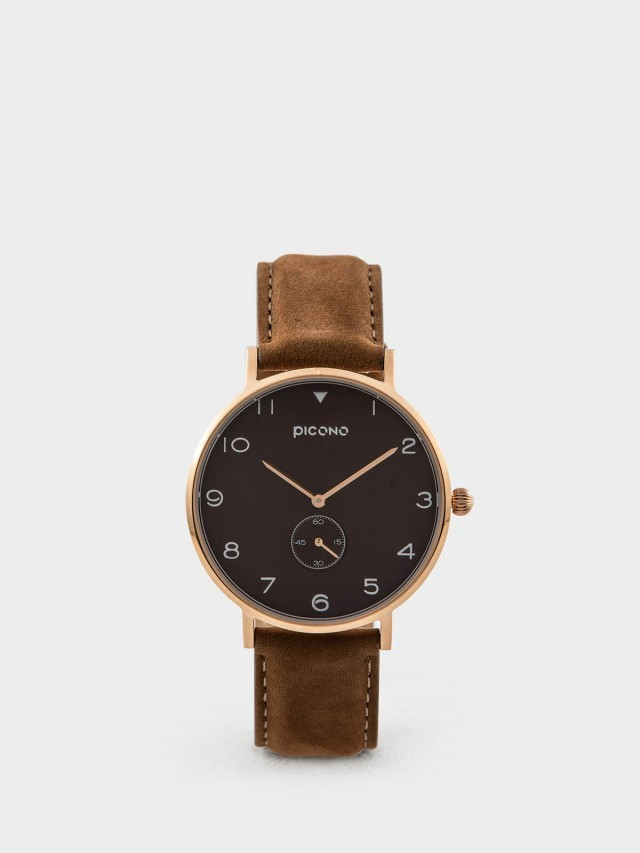 PICONO SPY S 系列 - 真皮錶帶手錶 - 紳士棕