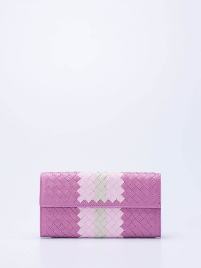 BOTTEGA VENETA 經典小羊皮雙色編織對折長夾 x 粉紫