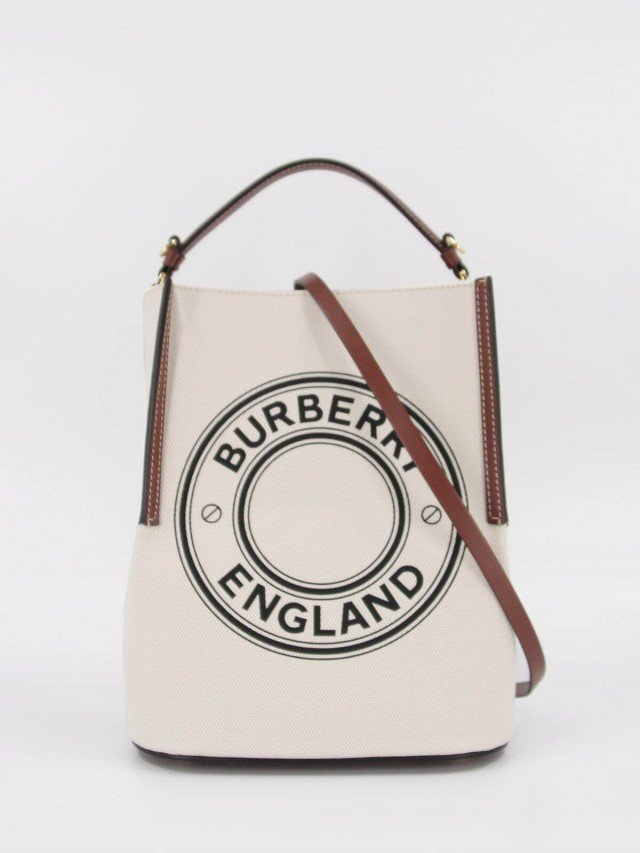 BURBERRY 小型標誌圖案棉質帆布 Peggy 水桶包