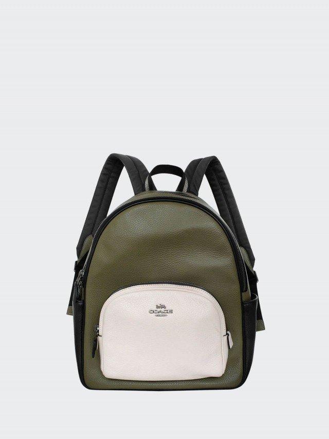 COACH 軍綠白黑拼色荔枝紋全皮雙層多口袋中款後背包