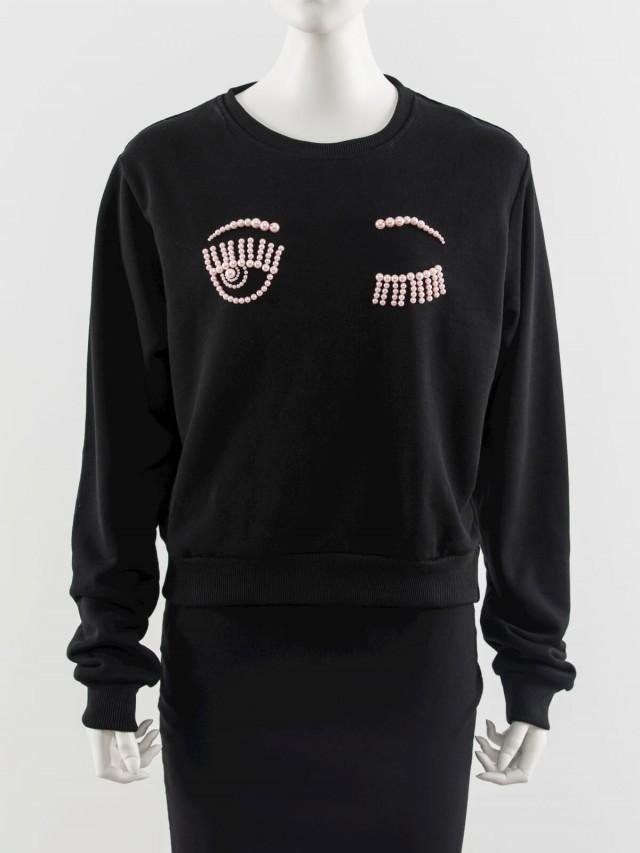 CHIARA FERRAGNI Flirting 刺繡珍珠眨眼圖案長袖短版衛衣 - 黑色