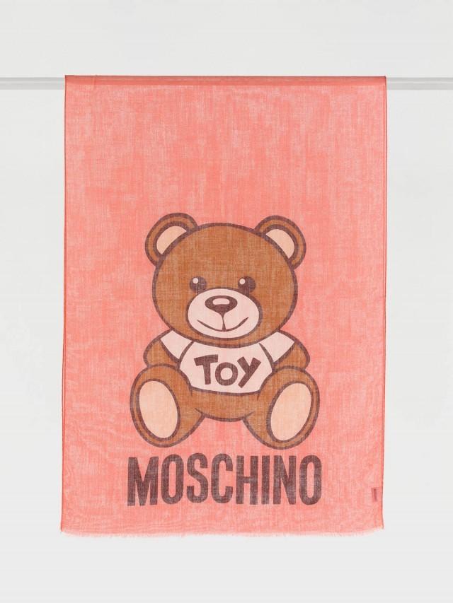 MOSCHINO TOY 熊熊薄款圍巾 x 粉紅