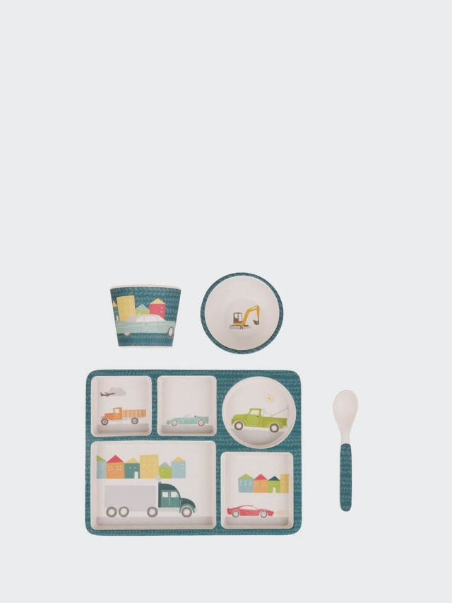 love mae 竹纖維餐具吸盤 5 件組 - 汽車