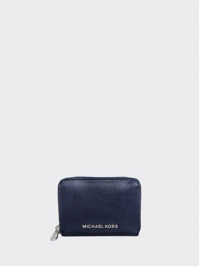 MICHAEL KORS 珠光藍防刮全皮 ㄇ 型拉鍊卡夾零錢包
