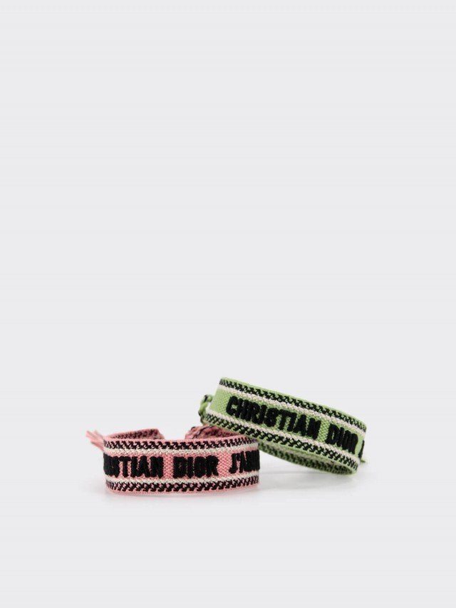 Dior J'adior 字母幸運編織手環 - 綠色 x 粉色( 2 副 1 組 )