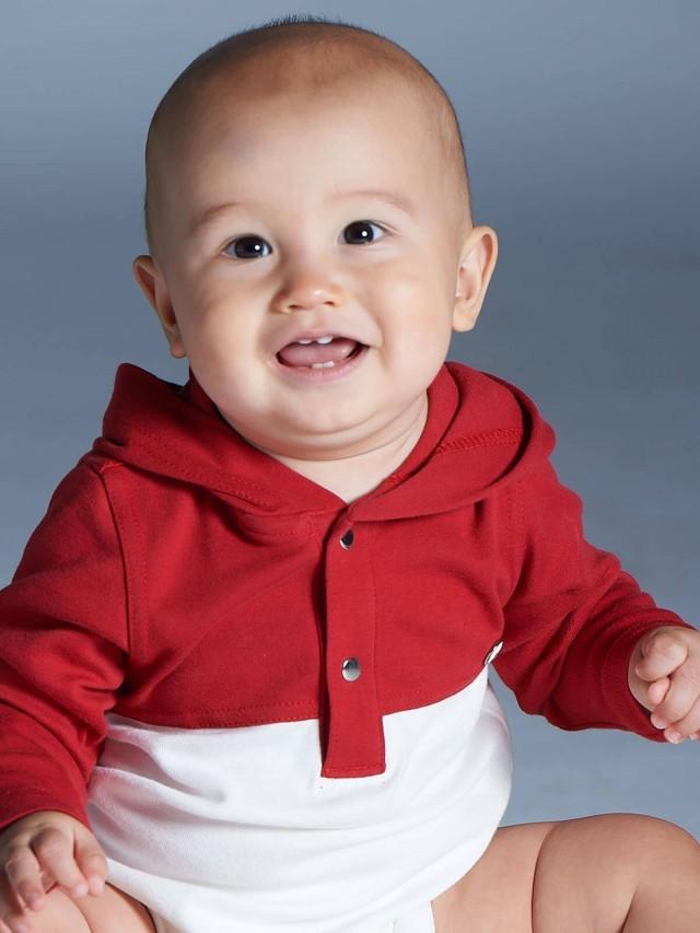 baby baby cool 運動風連帽包屁衣 - 紅