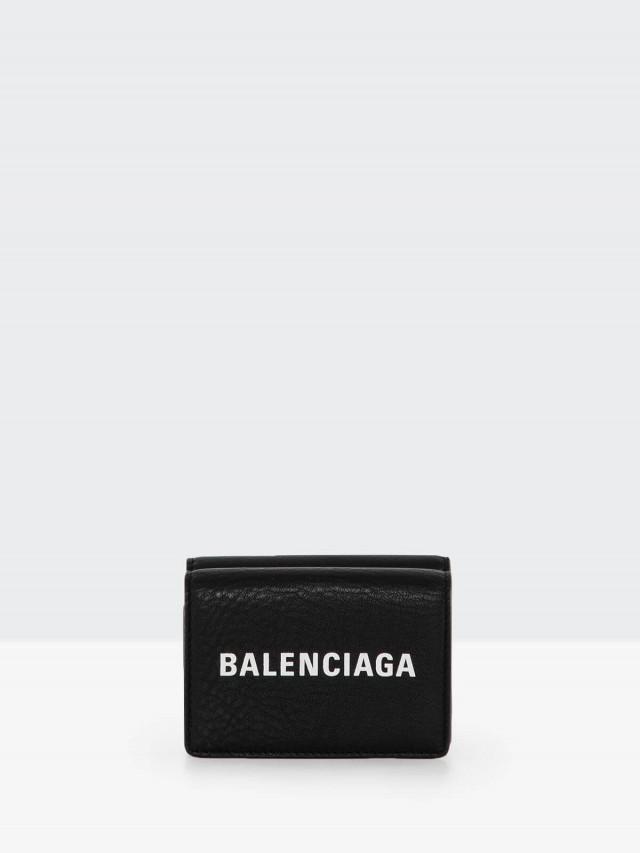BALENCIAGA Everyday 系列字母 LOGO 迷你短夾 - 黑