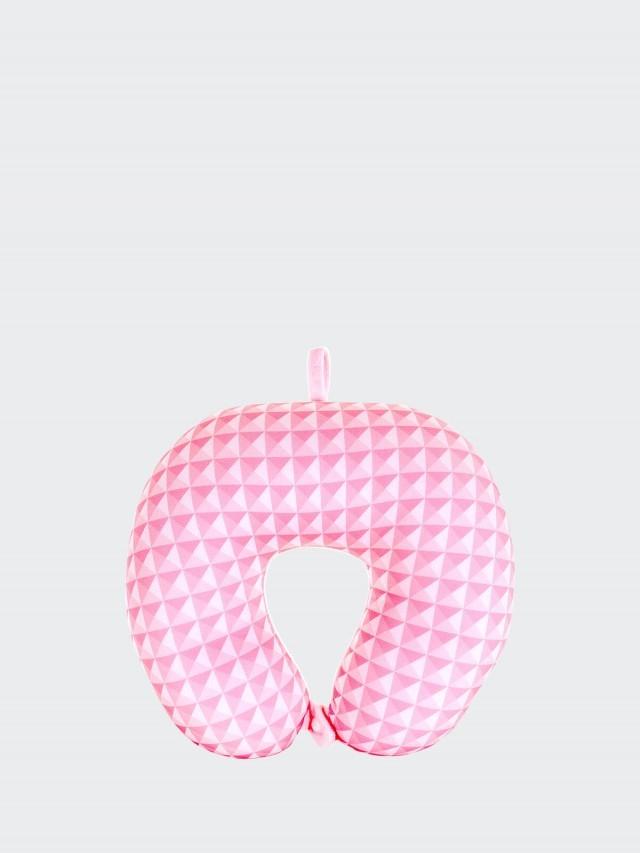 CROWN 旅行紓壓頸枕 - 粉色鑽石切割紋