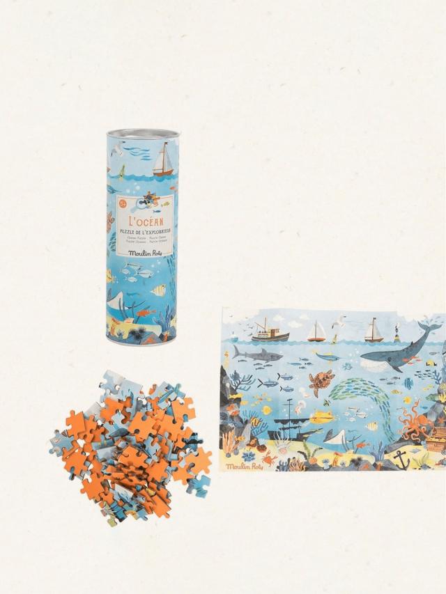 Moulin Roty 花園派對 96 片拼圖 - 海洋世界 ( 內附放大鏡一支 )