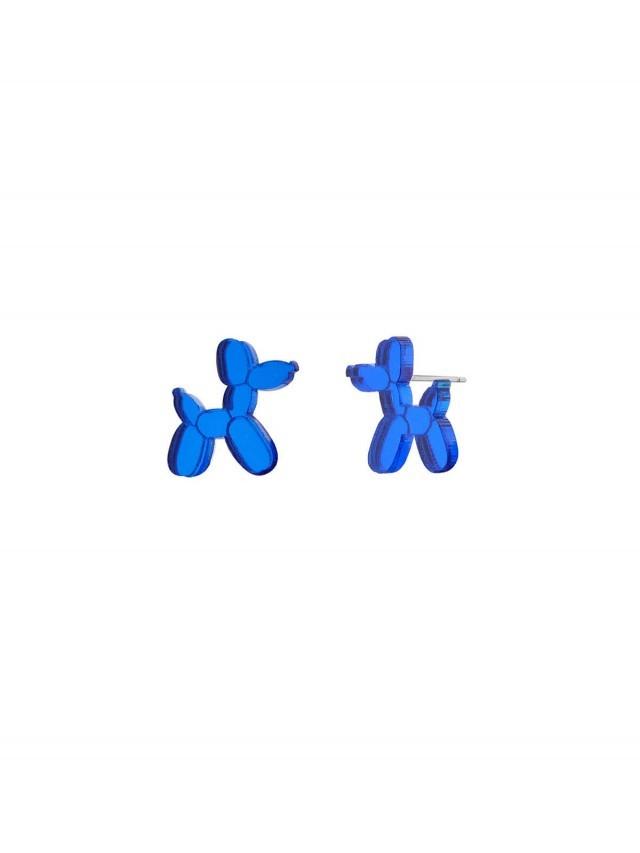MONOLAMA 鏡面反光材質氣球狗耳環 - 深藍