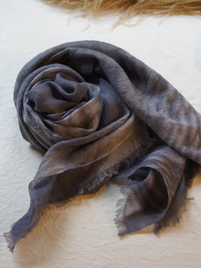 木木研室 植物染羊絨方巾 - 灰色水波紋