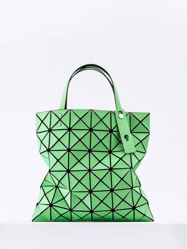 BAO BAO 三宅一生 幾何方格 6 x 6 霧面手提包 - 螢光綠