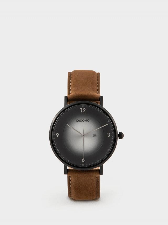 PICONO VINYL - 系列 輕薄真皮錶帶手錶 - 黑銀 / 黑