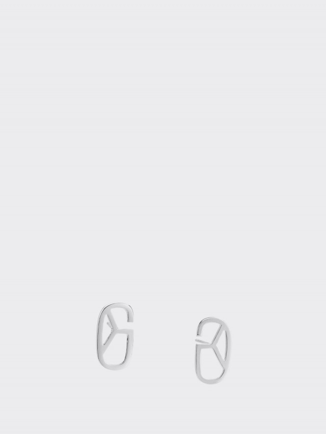 GLY 耳環 Monogram - 銀色