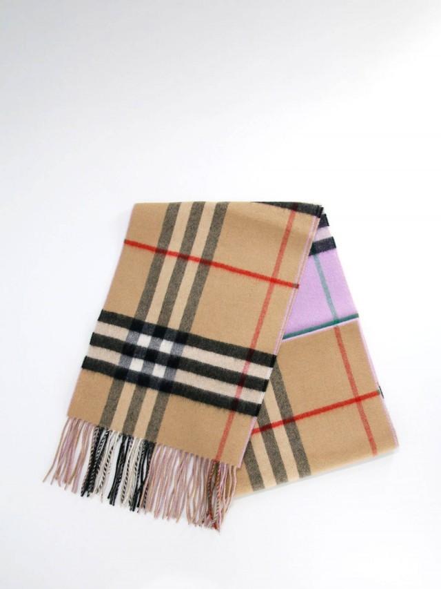 BURBERRY 長版雙面兩用拼色雙面喀什米爾圍巾 x 淡石南花色