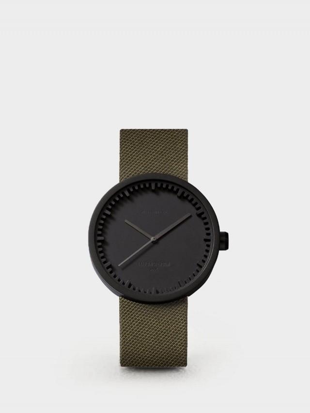 LEFF amsterdam tube 北歐工業齒輪設計尼龍 X 小牛皮腕錶 42mm - 霧黑錶盤 /  墨綠色尼龍錶帶