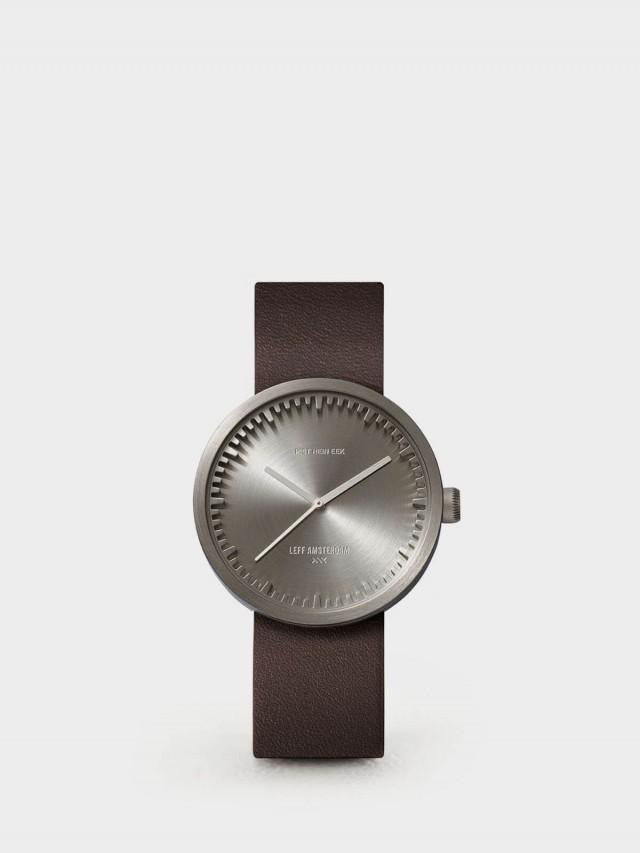 LEFF amsterdam tube 北歐工業齒輪設計真皮腕錶 - 38 mm 不鏽鋼 / 棕皮帶