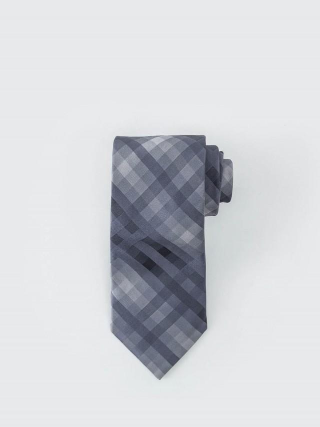 Calvin Klein 經典沉穩格紋領帶 - 灰