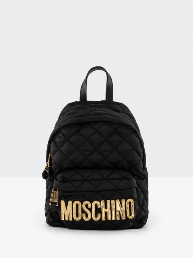 MOSCHINO 菱格紋縫線金字 LOGO 尼龍斜揹 / 後背包 - 小 x 黑色