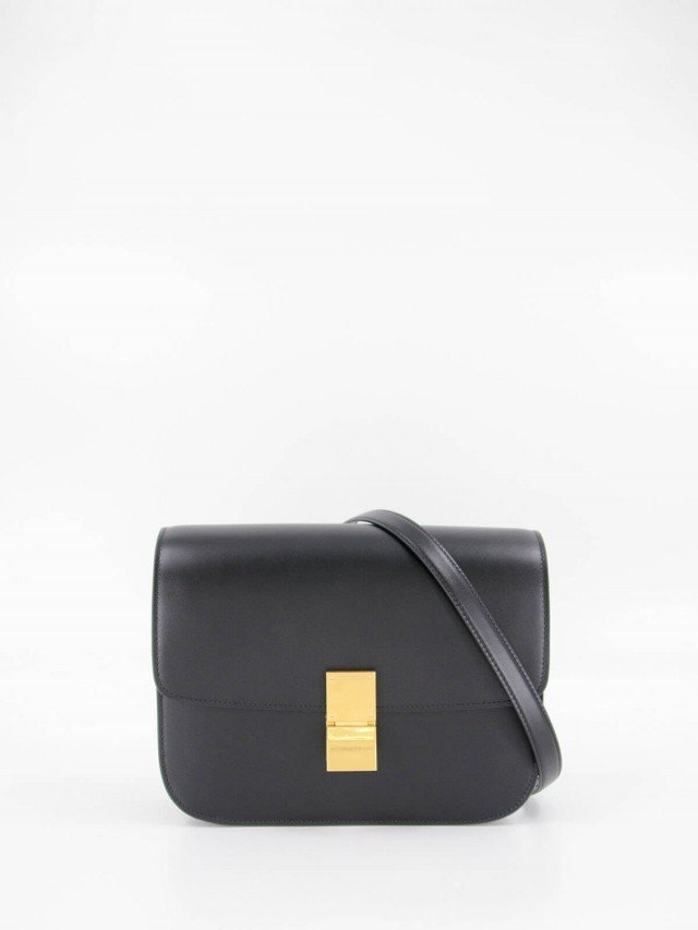 CELINE CLASSIC BOX 頂級小牛皮金釦肩背 / 斜背包 - 中 x 黑色