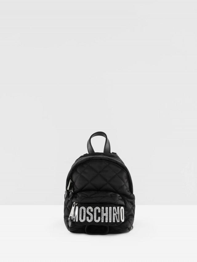 MOSCHINO 菱格紋縫線銀字 LOGO 尼龍斜揹 / 後背包 - mini x 黑色