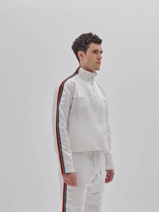 PEHOM 三色絨布條紋鍛面短版外套 - 男