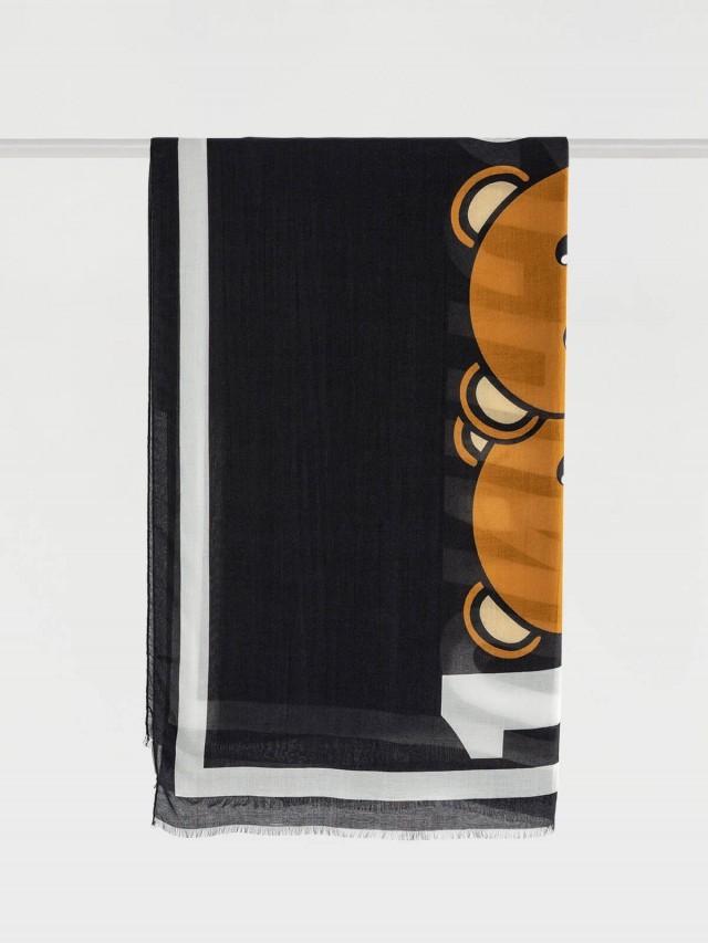MOSCHINO 經典小熊玩偶圖案流蘇造型莫代爾混羊絨圍巾 - 深藍