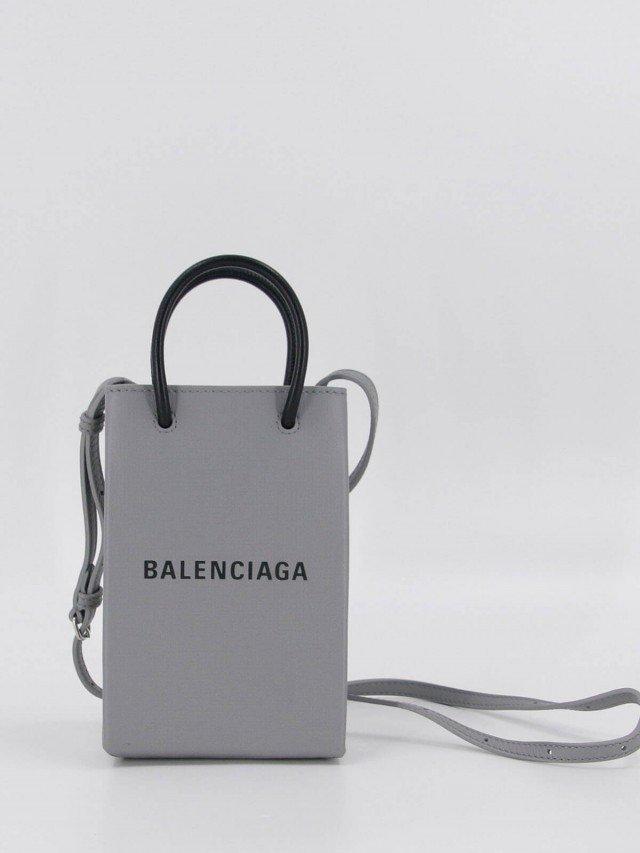 BALENCIAGA Shopping Phone Holder Bag 灰底黑字 Logo 手提 / 肩背包 x 灰色
