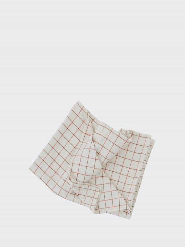 OYOY Gird 有機純棉格紋桌巾 - 清新紅白 x 大