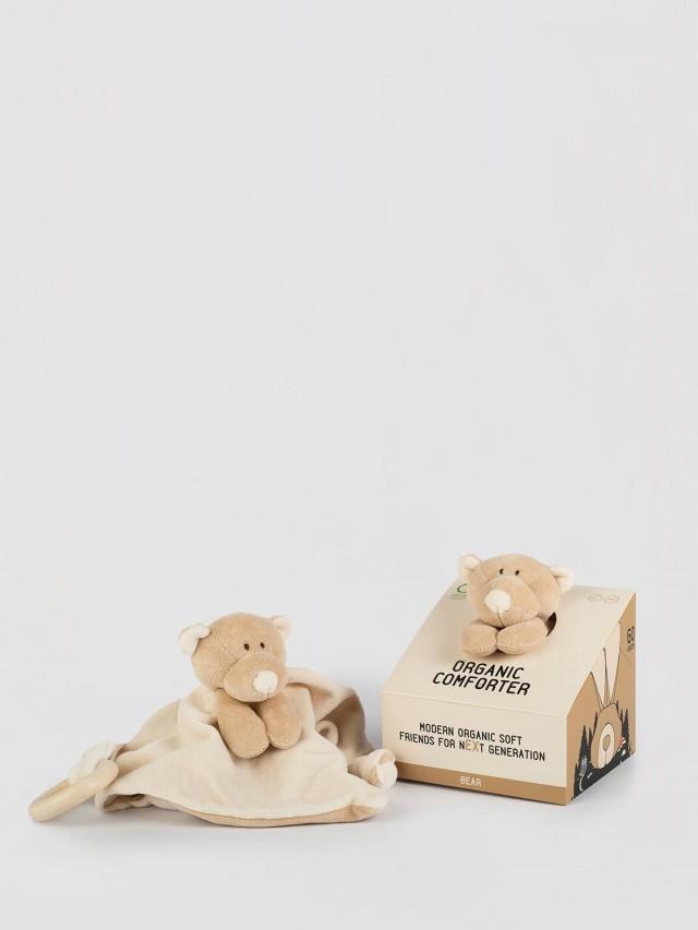Wooly Organic 有機棉絨木質固齒環安撫巾 - 丹丹熊