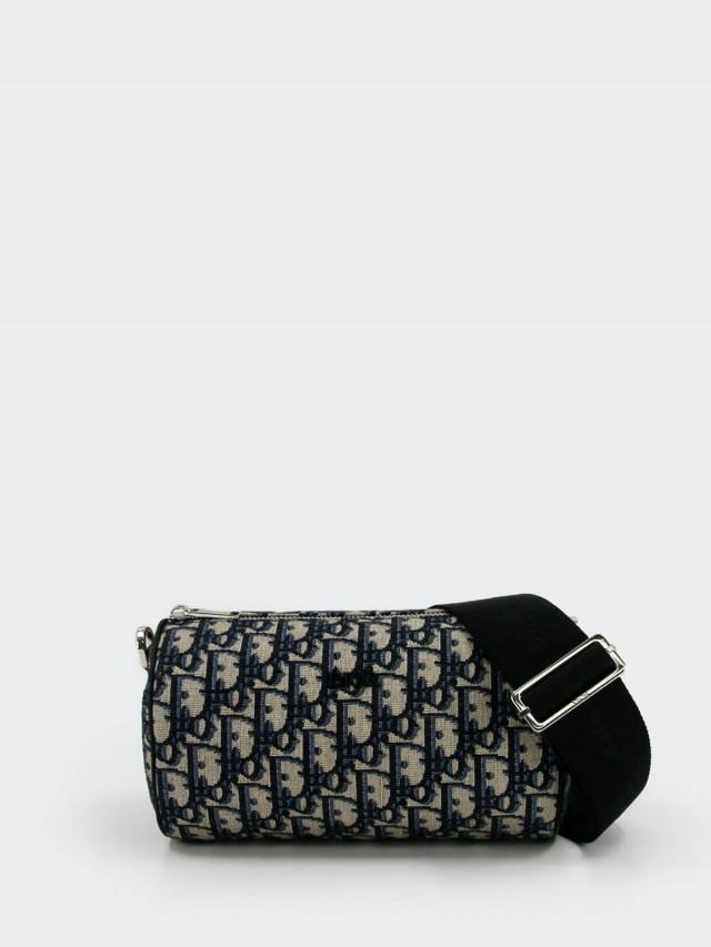 Dior ROLLER 系列 OBLIQUE 緹花布小牛皮飾邊拉鍊斜背圓筒包 x 藍