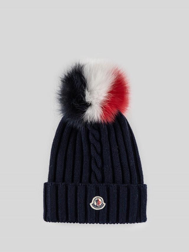 MONCLER 經典品牌 LOGO 羊毛針織貂毛三色絨球毛帽 - 藍