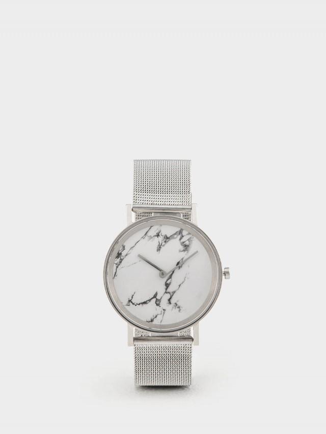 ZuWATCH 大理石 - 白 / 雪銀金屬編織錶帶
